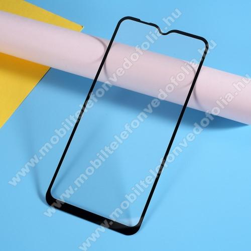 Előlap védő karcálló edzett üveg, TELJES KIJELZŐT VÉDI! - FEKETE - 9H, Arc Edge, A teljes felületén tapad! - SAMSUNG SM-A105F Galaxy A10