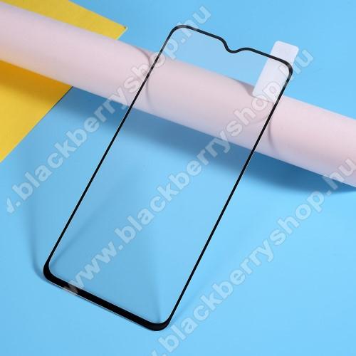 Előlap védő karcálló edzett üveg, TELJES KIJELZŐT VÉDI! - FEKETE - 9H, Arc Edge, A teljes felületén tapad! - OnePlus 7
