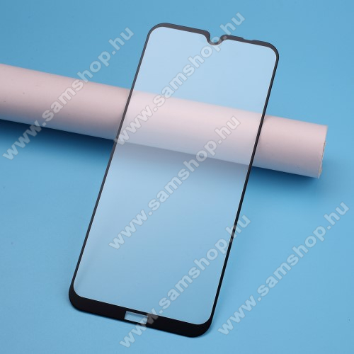 Előlap védő karcálló edzett üveg, TELJES KIJELZŐT VÉDI! - FEKETE - 9H, Arc Edge, A teljes felületén tapad! - Xiaomi Redmi Note 8T