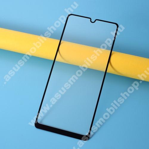 Előlap védő karcálló edzett üveg, TELJES KIJELZŐT VÉDI! - FEKETE - 9H, Arc Edge, A teljes felületén tapad! - SAMSUNG Galaxy A31 (SM-A315F)