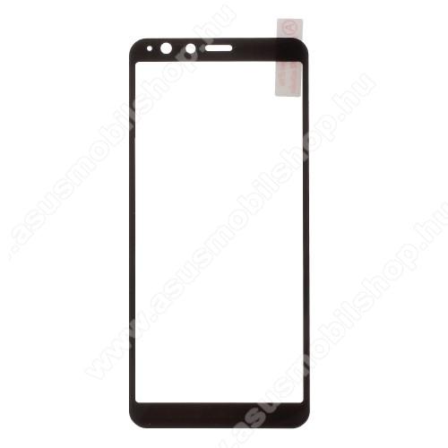 Előlapvédő karcálló edzett üveg - 9H - A TELJES ELŐLAPOT VÉDI! - FEKETE - ASUS Zenfone Max Plus (M1) (ZB570TL)