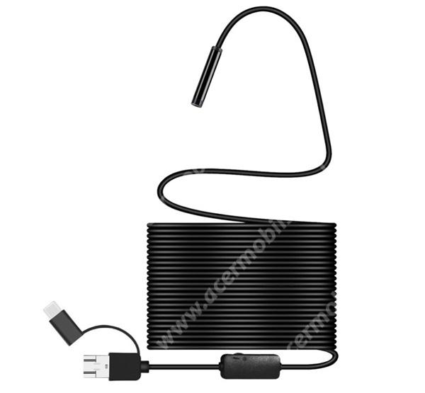 ACER Liquid Z3 Endoszkópos kamera (vízálló, puha kábel, IP68, LED, 8mm átmérő, 10m, USB / microUSB, Type-C, OTG) FEKETE