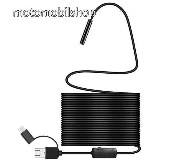 Endoszkópos kamera (vízálló, puha kábel, IP68, LED, 8mm átmérő, 10m, USB / microUSB, Type-C, OTG) FEKETE