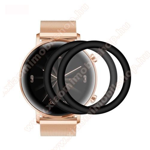 ENKAY Okosóra előlap védő karcálló edzett üveg - 2db, 9H, 3D - A TELJES ELŐLAPOT VÉDI! - FEKETE - HUAWEI Watch GT2 42mm / HUAWEI Honor MagicWatch 2 42mm - GYÁRI