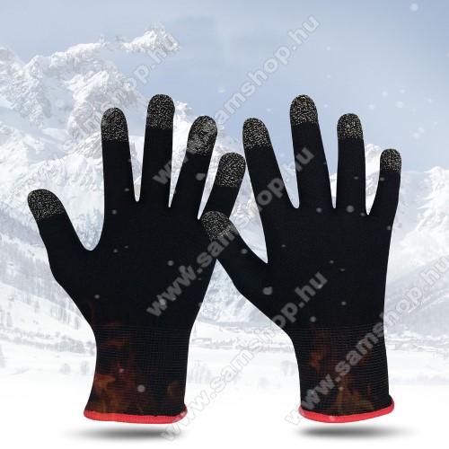 Érintő kesztyű - kapacitív kijelzőhöz, bélelt, sztreccses, teljes hossz (középső ujjától a csuklóig) 21cm - FEKETE