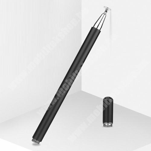 LG G4c (H525N) Érintőképernyő ceruza - 1db tartalék koronggal, mágneses kupak, kapacitív kijelzőhöz, KÉZÍRÁSRA, RAJZOLÁSRA IS ALKALMAS - FEKETE