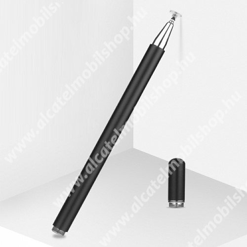 Érintőképernyő ceruza - 1db tartalék koronggal, mágneses kupak, kapacitív kijelzőhöz, KÉZÍRÁSRA, RAJZOLÁSRA IS ALKALMAS - FEKETE