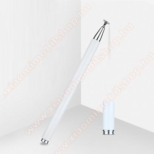 Érintőképernyő ceruza - 1db tartalék koronggal, mágneses kupak, kapacitív kijelzőhöz, KÉZÍRÁSRA, RAJZOLÁSRA IS ALKALMAS - FEHÉR