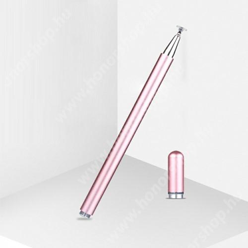 Érintőképernyő ceruza - 1db tartalék koronggal, mágneses kupak, kapacitív kijelzőhöz, KÉZÍRÁSRA, RAJZOLÁSRA IS ALKALMAS - RÓZSASZÍN