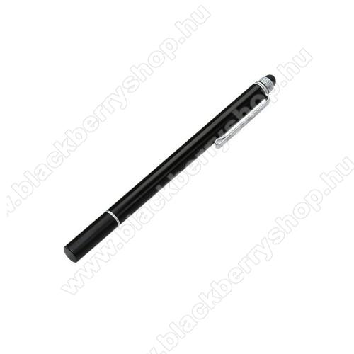 Érintőképernyő ceruza 2 az 1-ben - korongos és gumipárnás érintkező, kapacitív kijelzőhöz, KÉZÍRÁSRA, RAJZOLÁSRA IS ALKALMAS - FEKETE
