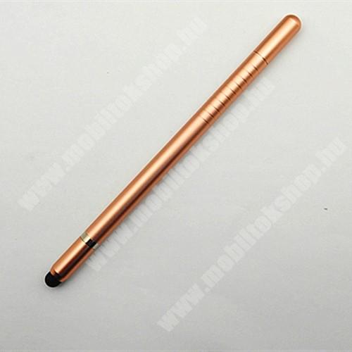Érintőképernyő ceruza 2 az 1-ben - korongos és gumipárnás érintkező, tartalék koronggal és érintőpárnával, kapacitív kijelzőhöz, KÉZÍRÁSRA, RAJZOLÁSRA IS ALKALMAS - ROSE GOLD