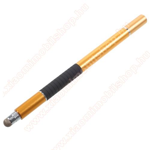 Érintőképernyő ceruza / golyós toll - kapacitív kijelzőhöz, KÉZÍRÁSRA, RAJZOLÁSRA ALKALMAS - ARANY