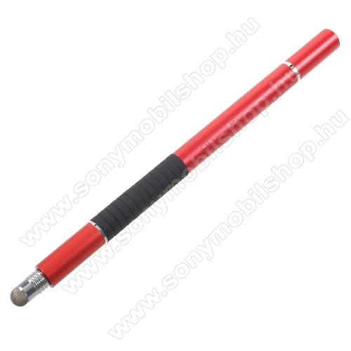 SONY Xperia T (LT30p)Érintőképernyő ceruza / golyós toll - kapacitív kijelzőhöz, KÉZÍRÁSRA, RAJZOLÁSRA ALKALMAS - PIROS