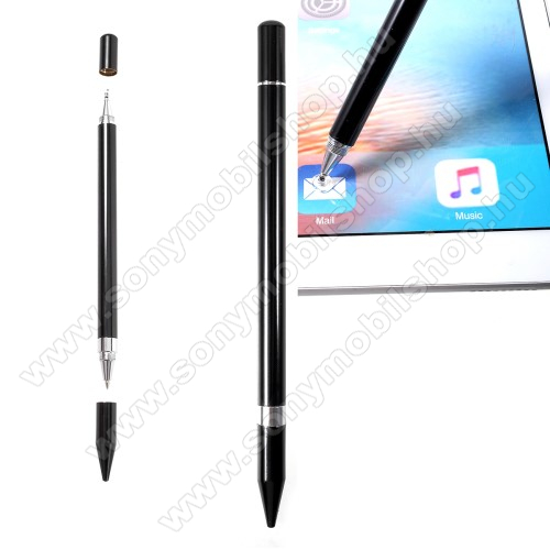 SONY Xperia T (LT30p)Érintőképernyő ceruza / golyós toll - kapacitív kijelzőhöz, KÉZÍRÁSRA, RAJZOLÁSRA ALKALMAS - FEKETE