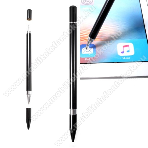 Érintőképernyő ceruza / golyós toll - kapacitív kijelzőhöz, KÉZÍRÁSRA, RAJZOLÁSRA ALKALMAS - FEKETE