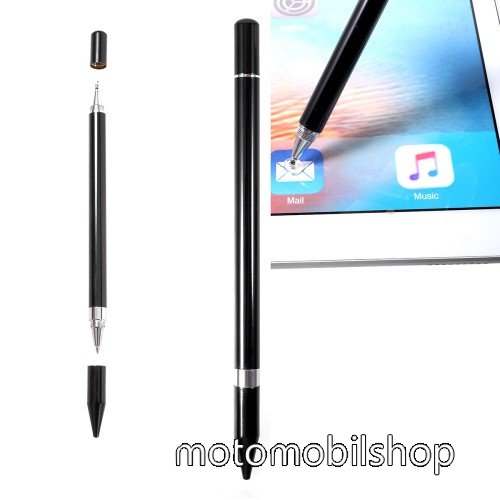 MOTOROLA XT701 Érintőképernyő ceruza / golyós toll - kapacitív kijelzőhöz, KÉZÍRÁSRA, RAJZOLÁSRA ALKALMAS - FEKETE