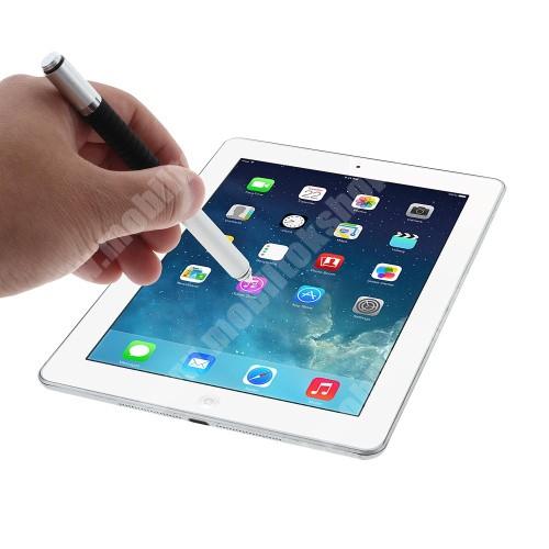 APPLE iPad mini 2 Érintőképernyő ceruza / golyós toll - kapacitív kijelzőhöz, VÉKONY HEGYŰ! - EZÜST