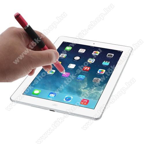Érintőképernyő ceruza / golyós toll - kapacitív kijelzőhöz, KÉZÍRÁSRA, RAJZOLÁSRA ALKALMAS - PIROS