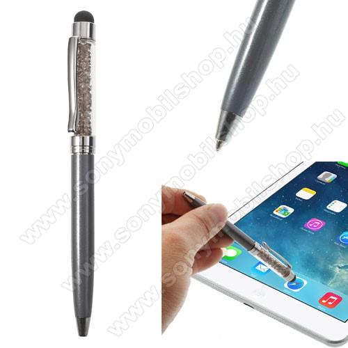 SONY Xperia M DUALÉrintőképernyő ceruza / golyós toll - strasszkővel díszített - SZÜRKE
