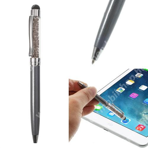 Érintőképernyő ceruza / golyós toll - strasszkővel díszített - SZÜRKE