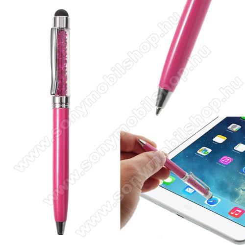 SONY Xperia M DUALÉrintőképernyő ceruza / golyós toll - strasszkővel díszített - MAGENTA
