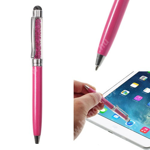 Érintőképernyő ceruza / golyós toll - strasszkővel díszített - MAGENTA