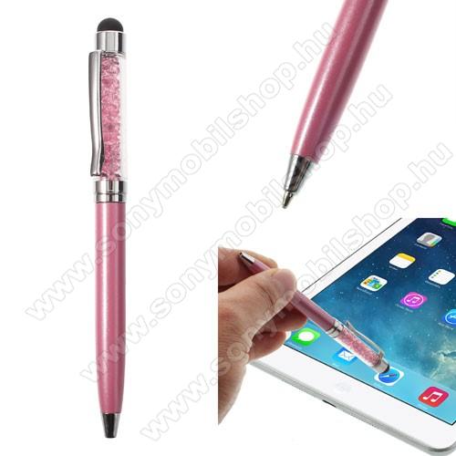 SONY Xperia M DUALÉrintőképernyő ceruza / golyós toll - strasszkővel díszített - RÓZSASZÍN