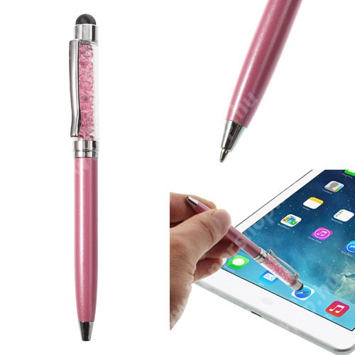 Érintőképernyő ceruza / golyós toll - strasszkővel díszített - RÓZSASZÍN