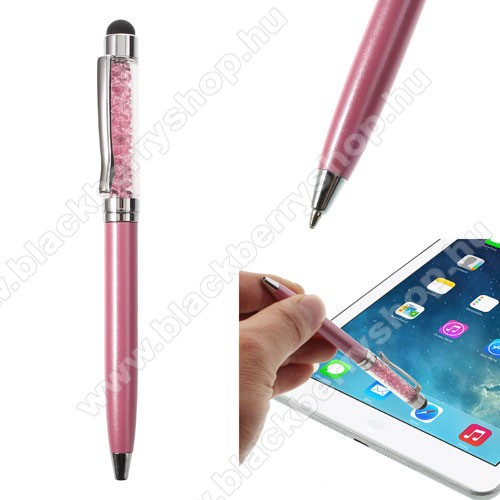BLACKBERRY EvolveÉrintőképernyő ceruza / golyós toll - strasszkővel díszített - RÓZSASZÍN