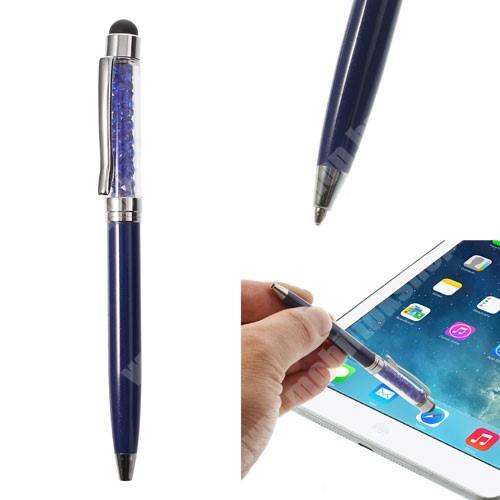 HTC Desire 12s Érintőképernyő ceruza / golyós toll - strasszkővel díszített - SÖTÉTKÉK