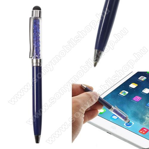 SONY Xperia M DUALÉrintőképernyő ceruza / golyós toll - strasszkővel díszített - SÖTÉTKÉK