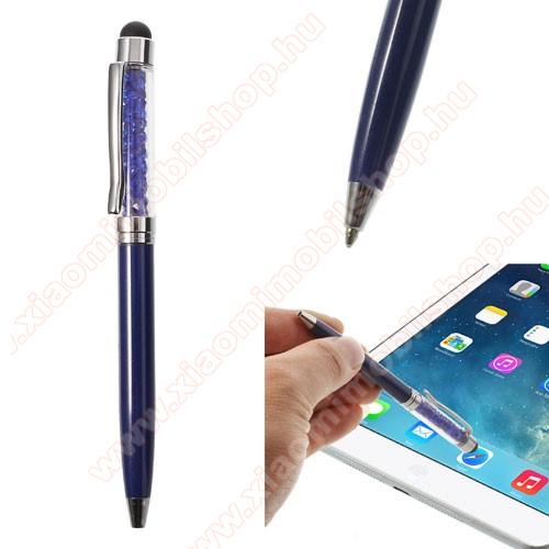 Érintőképernyő ceruza / golyós toll - strasszkővel díszített - SÖTÉTKÉK