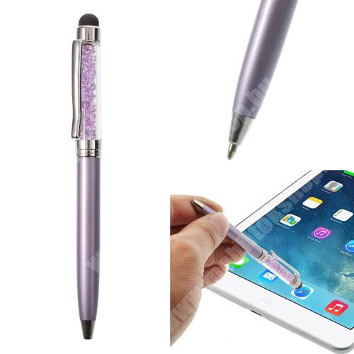 Érintőképernyő ceruza / golyós toll - strasszkővel díszített - LILA