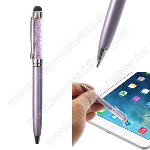 SONY Xperia M DUALÉrintőképernyő ceruza / golyós toll - strasszkővel díszített - LILA