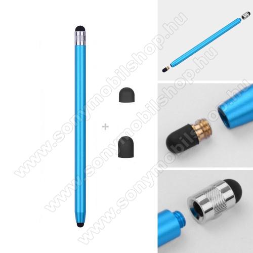 SONY Xperia Z1 Compact (D5503)Érintőképernyő ceruza - kapacitív kijelzőhöz, 14,2cm hosszú, cserélhető tartalék érintőpárnákkal 1db 5mm-es és 1db 7mm-es - VILÁGOSKÉK