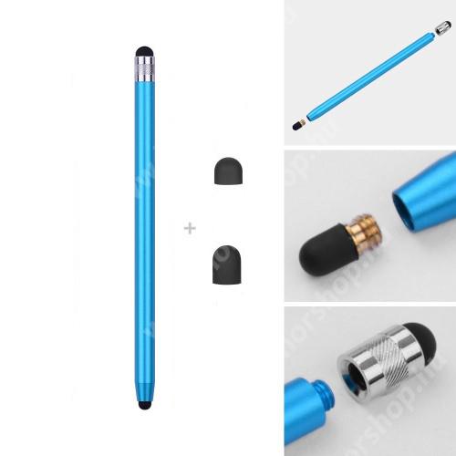 HUAWEI Honor 6 Érintőképernyő ceruza - kapacitív kijelzőhöz, 14,2cm hosszú, cserélhető tartalék érintőpárnákkal 1db 5mm-es és 1db 7mm-es - VILÁGOSKÉK