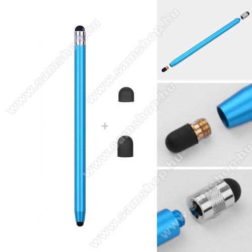 SAMSUNG Galaxy S4 mini (GT-I9190)Érintőképernyő ceruza - kapacitív kijelzőhöz, 14,2cm hosszú, cserélhető tartalék érintőpárnákkal 1db 5mm-es és 1db 7mm-es - VILÁGOSKÉK