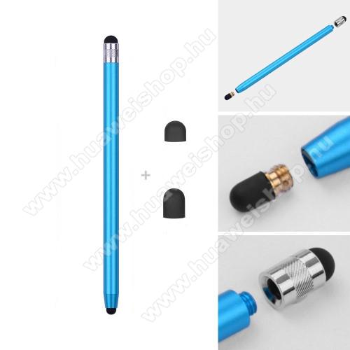 Honor Tab 5Érintőképernyő ceruza - kapacitív kijelzőhöz, 14,2cm hosszú, cserélhető tartalék érintőpárnákkal 1db 5mm-es és 1db 7mm-es - VILÁGOSKÉK