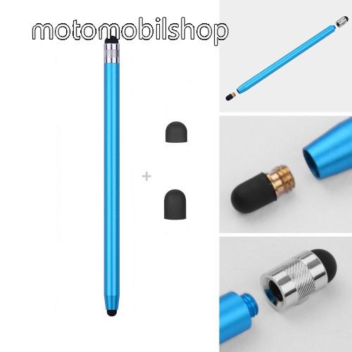MOTOROLA XT701 Érintőképernyő ceruza - kapacitív kijelzőhöz, 14,2cm hosszú, cserélhető tartalék érintőpárnákkal 1db 5mm-es és 1db 7mm-es - VILÁGOSKÉK