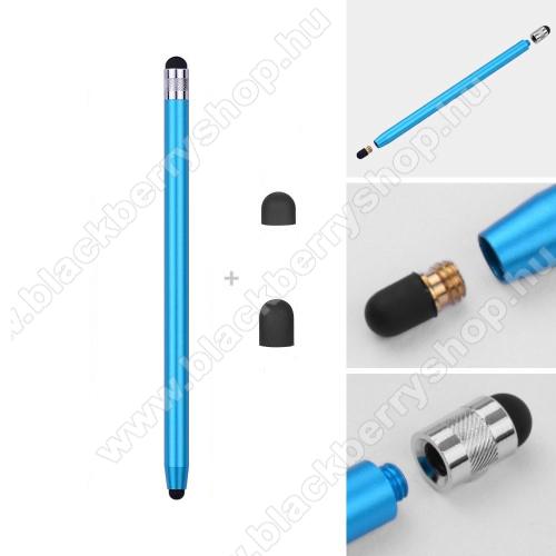 BLACKBERRY DTEK50Érintőképernyő ceruza - kapacitív kijelzőhöz, 14,2cm hosszú, cserélhető tartalék érintőpárnákkal 1db 5mm-es és 1db 7mm-es - VILÁGOSKÉK
