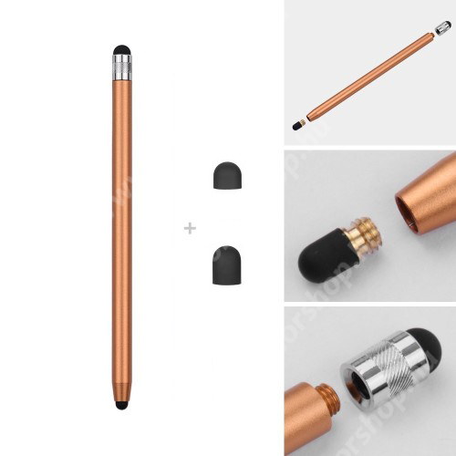 HUAWEI Honor 6 Érintőképernyő ceruza - kapacitív kijelzőhöz, 14,2cm hosszú, cserélhető tartalék érintőpárnákkal 1db 5mm-es és 1db 7mm-es - ARANY