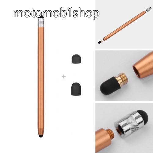 MOTOROLA Moto G3 (XT1540) Érintőképernyő ceruza - kapacitív kijelzőhöz, 14,2cm hosszú, cserélhető tartalék érintőpárnákkal 1db 5mm-es és 1db 7mm-es - ARANY