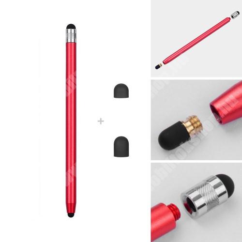 HTC HD 2 Érintőképernyő ceruza - kapacitív kijelzőhöz, 14,2cm hosszú, cserélhető tartalék érintőpárnákkal 1db 5mm-es és 1db 7mm-es - PIROS