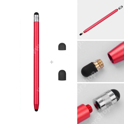 HUAWEI Honor 6 Érintőképernyő ceruza - kapacitív kijelzőhöz, 14,2cm hosszú, cserélhető tartalék érintőpárnákkal 1db 5mm-es és 1db 7mm-es - PIROS