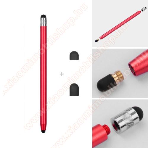 Xiaomi Redmi Y1 LiteÉrintőképernyő ceruza - kapacitív kijelzőhöz, 14,2cm hosszú, cserélhető tartalék érintőpárnákkal 1db 5mm-es és 1db 7mm-es - PIROS