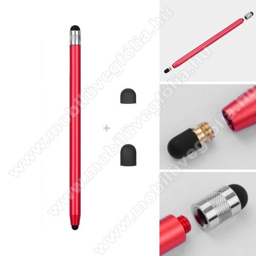 HUAWEI P Smart+ (2019)Érintőképernyő ceruza - kapacitív kijelzőhöz, 14,2cm hosszú, cserélhető tartalék érintőpárnákkal 1db 5mm-es és 1db 7mm-es - PIROS