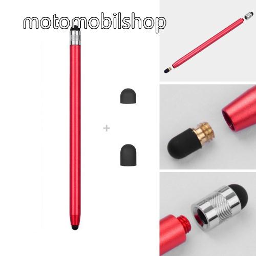 MOTOROLA XT701 Érintőképernyő ceruza - kapacitív kijelzőhöz, 14,2cm hosszú, cserélhető tartalék érintőpárnákkal 1db 5mm-es és 1db 7mm-es - PIROS