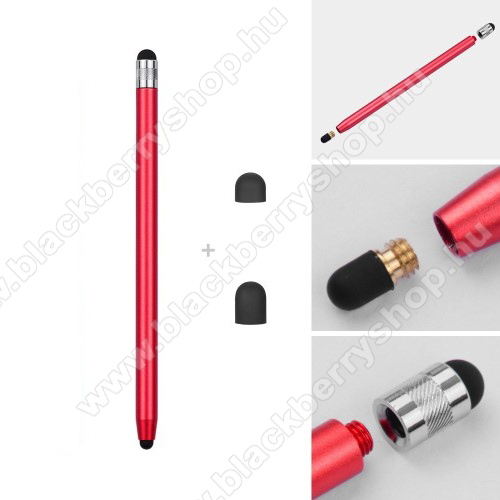 BLACKBERRY Z3Érintőképernyő ceruza - kapacitív kijelzőhöz, 14,2cm hosszú, cserélhető tartalék érintőpárnákkal 1db 5mm-es és 1db 7mm-es - PIROS
