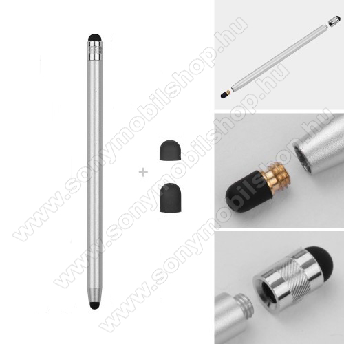 SONY Xperia XA DualÉrintőképernyő ceruza - kapacitív kijelzőhöz, 14,2cm hosszú, cserélhető tartalék érintőpárnákkal 1db 5mm-es és 1db 7mm-es - EZÜST