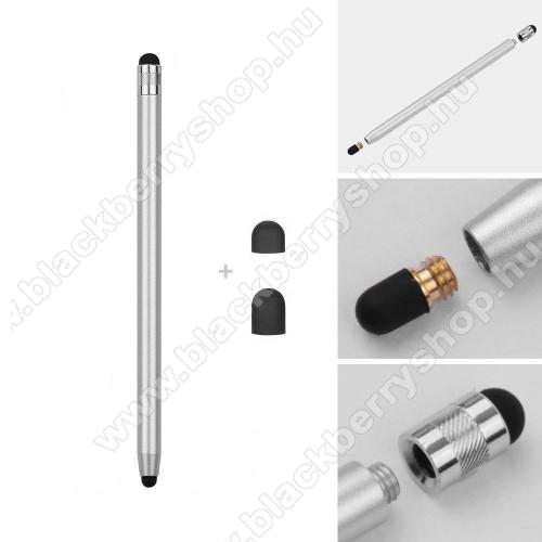 BLACKBERRY KEY2 LEÉrintőképernyő ceruza - kapacitív kijelzőhöz, 14,2cm hosszú, cserélhető tartalék érintőpárnákkal 1db 5mm-es és 1db 7mm-es - EZÜST